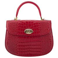 The Tannery|Fontanelli|2278|Croc|Stamped Croc|Handbag|Leather Handbag|Evening Bag|Ladies evening bag|Gold Trims|Parties|Weddings|Red
