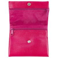 The Tannery|Italian leather|LUC| Lizard leather|stamped leather|coin purse|jewellery roll|travel jewellery case| zipped coin purse|small purse|ladies purse|leather jewellery holder|Fuchsia
