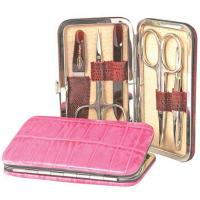 The Tannery|Manicure Set|Gift Ideas|For Him|For Her|Christmas|Stocking Filler|Travel|Axxessories|Beauty|Grooming|Soligen Steel|Leather|Printed Lizard|Lizard|Leather manicure set|Rigid|