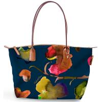 The Tannery|Roberta Pieri|Flower|Small Tote|Flower Tote|Robertina|Leather trims|Canvas|Ladies Small Tote|Shoulder Bag|Ladies Shoulder Bag|Navy