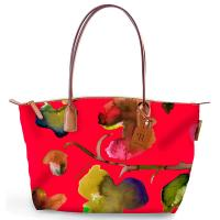 The Tannery|Roberta Pieri|Flower|Small Tote|Flower Tote|Robertina|Leather trims|Canvas|Ladies Small Tote|Shoulder Bag|Ladies Shoulder Bag|Coral|