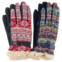 Santacana|Gloves|knitted|jacquard|ruby|marine|i touch|