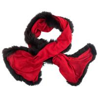 Kapre|Fur|Trim|Scarf|Red|
