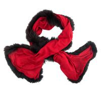 Kapre|fur trimmed|scarffur lined|red|gifts for her|ladies scarf