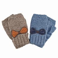 Knitted mitten|231|leather bow|fingerless gifts for her|