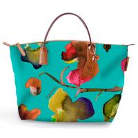 The Tannery|Roberta Pierir|Mini|Duffle|Flower|Ladies Mini Duffle|Canvas|Nylon|Leather trims|Leather|Ladies Handbag|Handbag|For Her|Bermuda Green