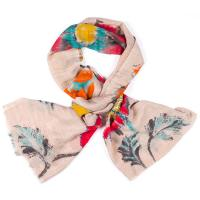 Kapre|Floral|Embroidery|Scarf|Beige/Red|