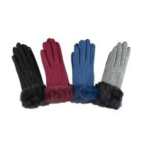 Santacana|Knitted wool glove|fur trim|rabbit fur|i touch|gloves you can use your phone with|new in|gifts for her|Christmas gifts|luxury wool gloves|The Tannery