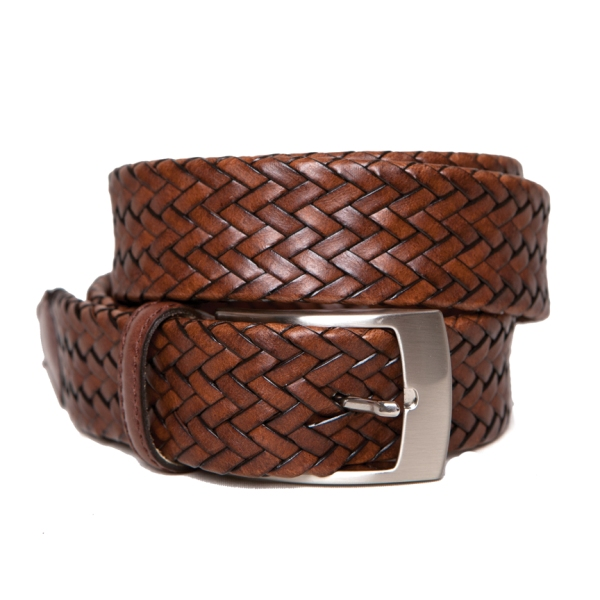 mens woven leather belt 5099 brn